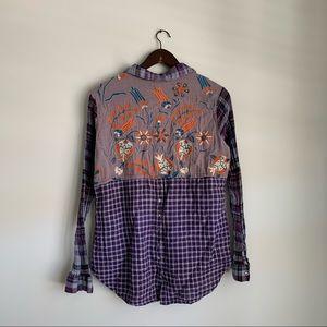 Sundance Purple Plaid Embroidered Button Up Shirt